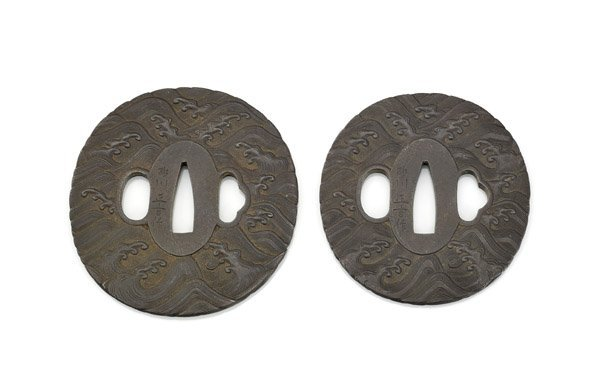 TWO ANTIQUE JAPANESE DAISHO IRON TSUBA