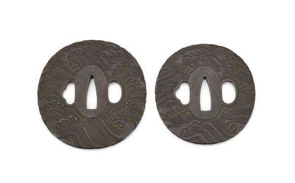 TWO ANTIQUE JAPANESE DAISHO IRON TSUBA - 2