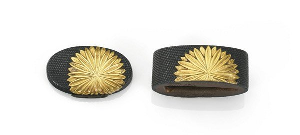 TWO-PIECE ANTIQUE JAPANESE FUCHI KASHIRA SET: Flowers