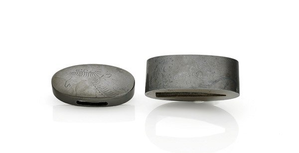 TWO-PIECE ANTIQUE JAPANESE FUCHI KASHIRA SET: Horses