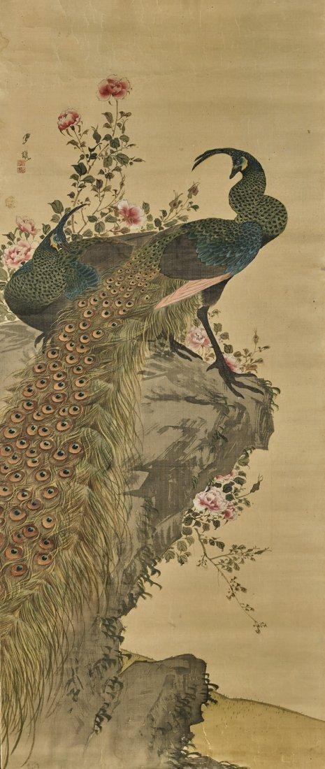 ANTIQUE JAPANESE SILK SCROLL: Peafowl