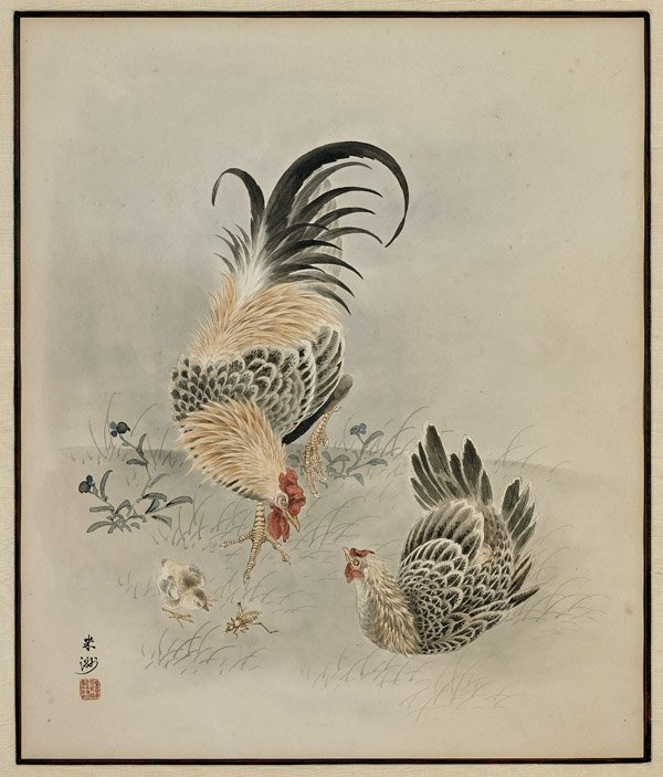 JAPANESE PAPER PAINTING: Chicken Family