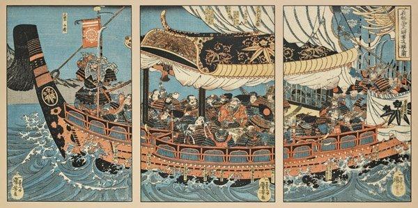 ANTIQUE WOODBLOCK PRINT TRIPTYCH BY KUNIYOSHI