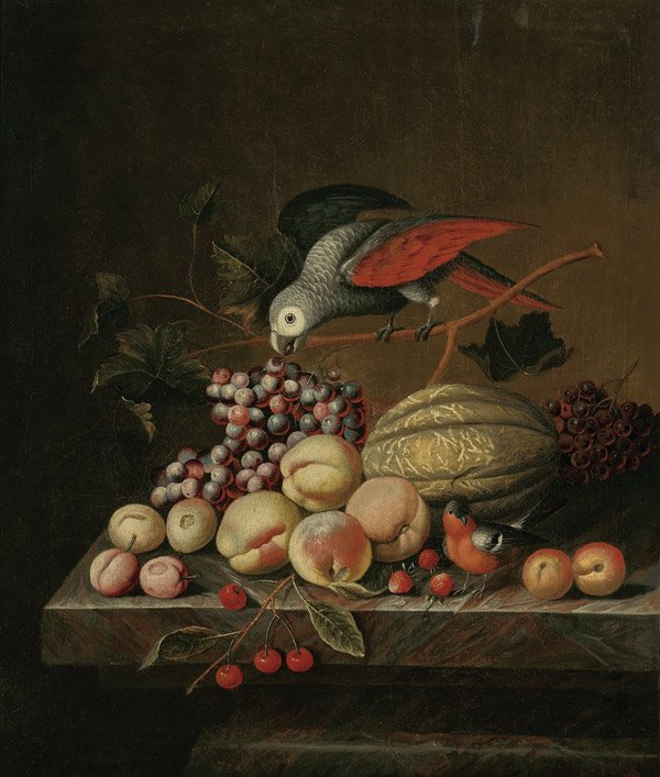 18TH CENTURY MASTER OIL PAINTING: Parrot & Fruit