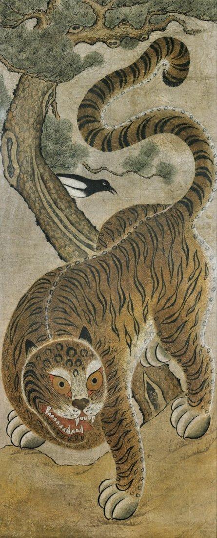 LARGE ANTIQUE KOREAN FOLK PAINTING: Tiger & Magpie