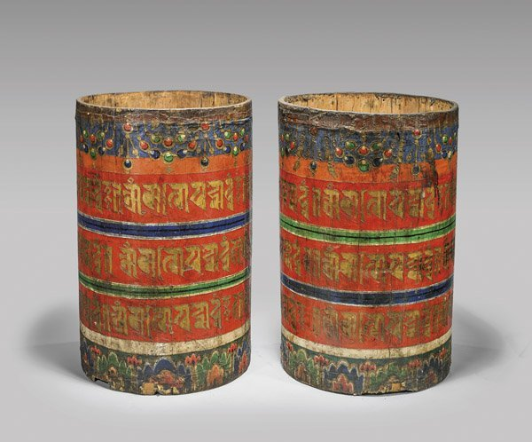 PAIR OF TIBETAN OR MONGOLIAN PRAYER WHEELS