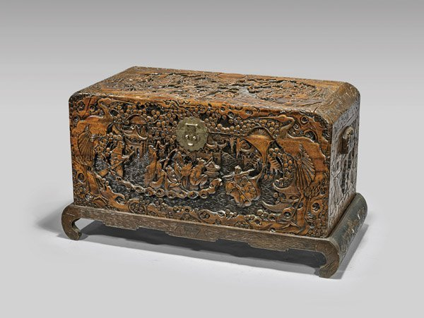 OLD CHINESE CARVED CAMPHOR WOOD CHEST