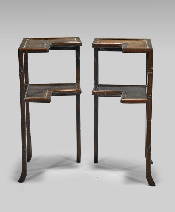 PAIR ANTIQUE CHINESE HARDWOOD SIDE TABLES - 2