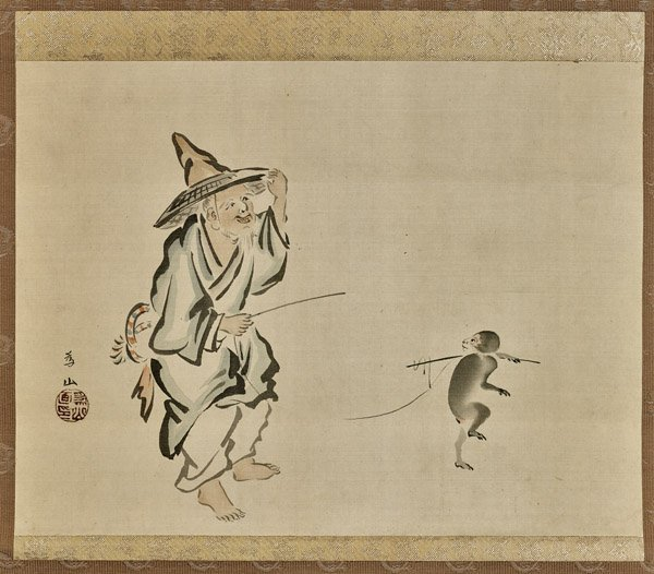 Old Japanese Silk Scroll: Trainer & Monkey