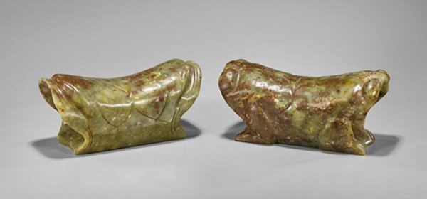 Pair Chinese Bowenite Frog Pillows