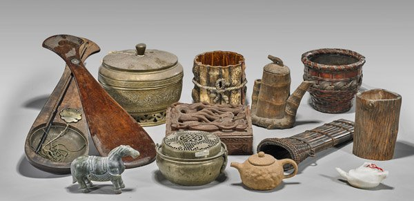 Twelve Items: Carvings, Containers & Warmers