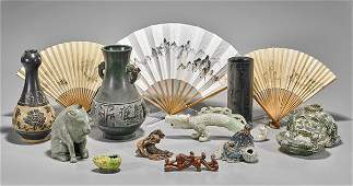 Thirteen Chinese Items: Fans, Vases & Figurines