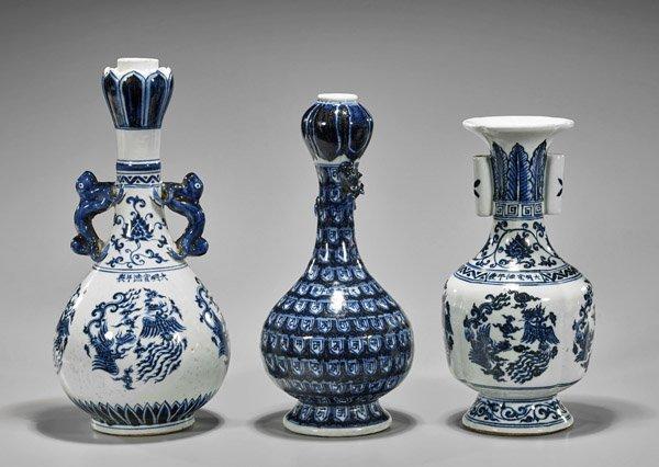 Three Xuande-Style Blue & White Vases