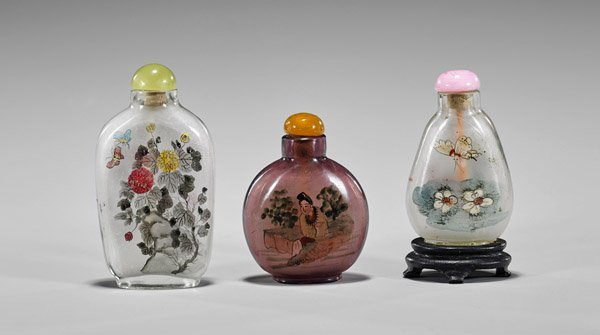 Three Old Inside Painted Glass Snuff Bottles