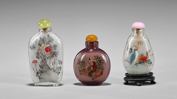 Three Old Inside Painted Glass Snuff Bottles - 2