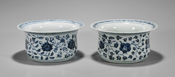 Pair Xuande-Style Blue & White Palace Bowls