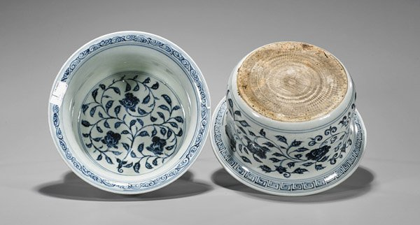 Pair Xuande-Style Blue & White Palace Bowls - 2