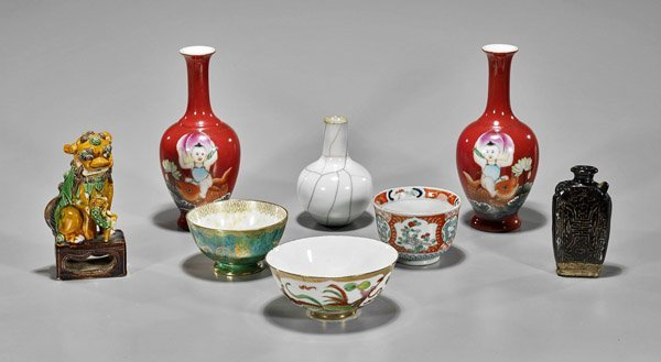 Group of Eight Small Porcelains and Pottery Items