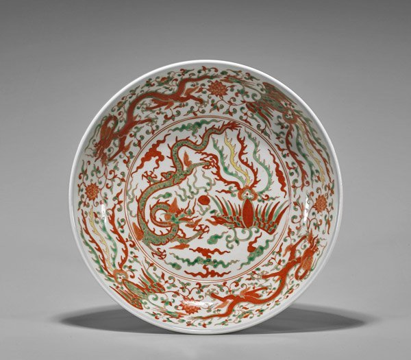 Chinese Wucai Glazed Marriage Dish