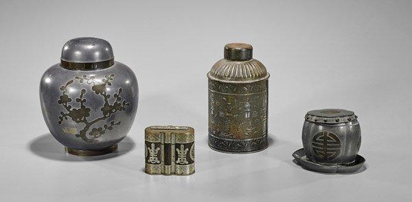 Four Chinese Metal Tea Caddies