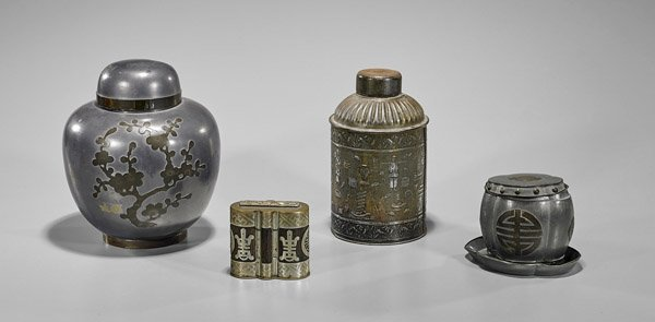 Four Chinese Metal Tea Caddies