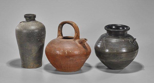 Three Asian Stoneware Vessels