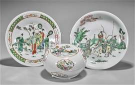 Three Antique Chinese Famille Rose & Verte Porcelains