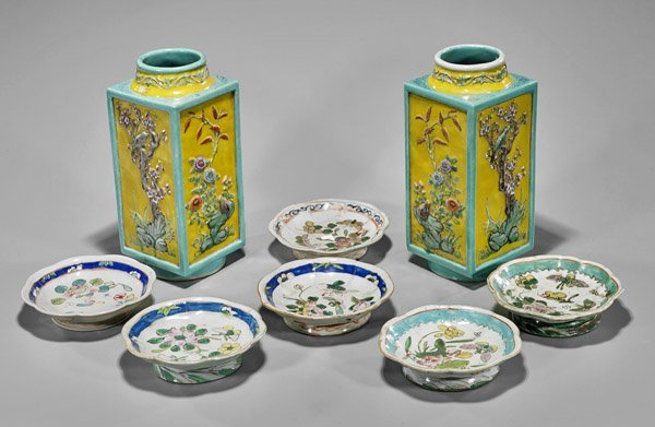 Eight Old & Antique Chinese Enameled Porcelains