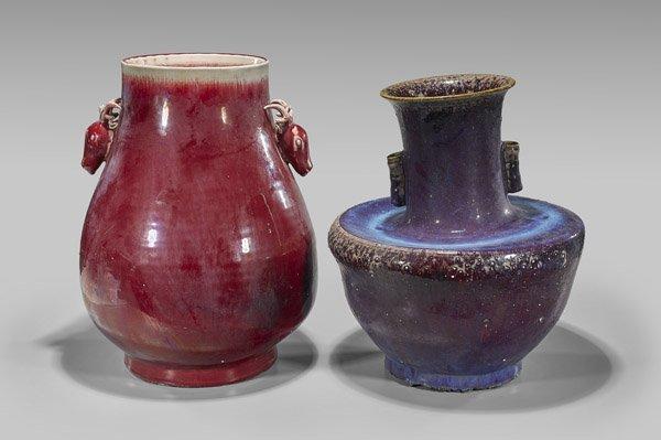 Two Large Chinese Monochrome Glazed Vases