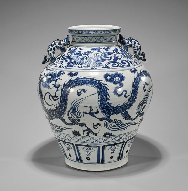 Tall Ming-Style Blue & White Dragon Vase