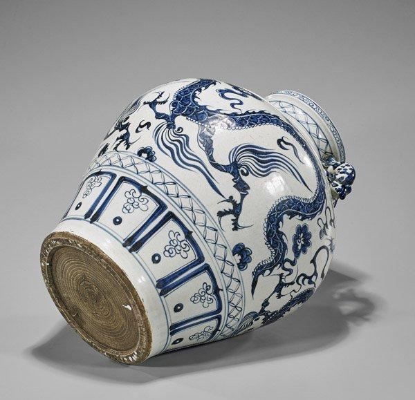 Tall Ming-Style Blue & White Dragon Vase - 2