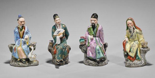 Four Chinese Enameled Porcelain Figures