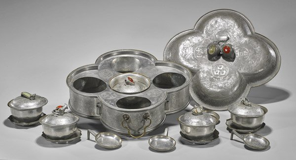 Antique Chinese Pewter Entree Set for Five