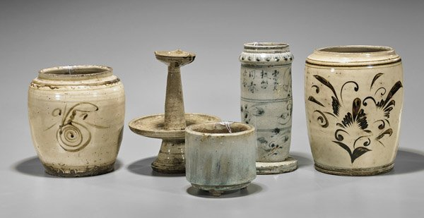 Five Antique Chinese Glazed Ceramic Vessels
