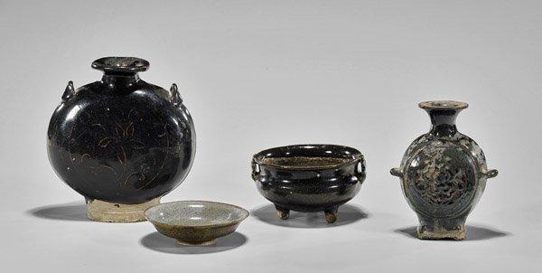 Four Early Chinese Glazed Ceramics