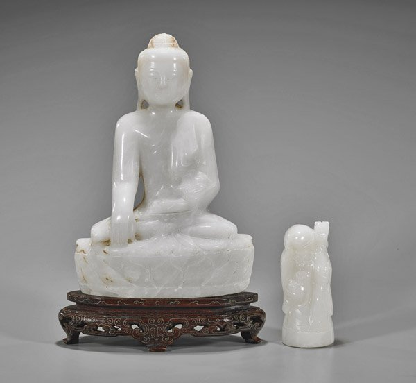 Two Figural Carvings: Buddha & Shoulao