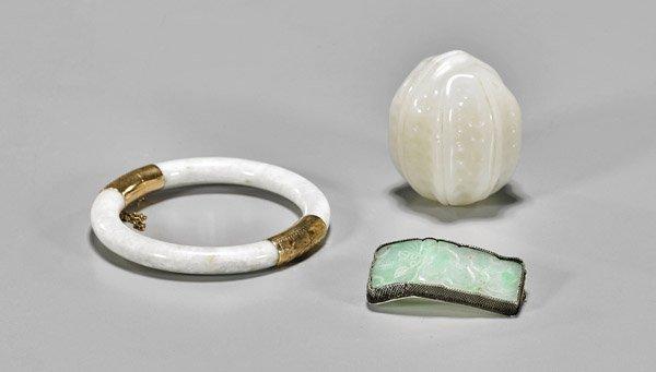 Three Chinese Jade & Jadeite Carvings