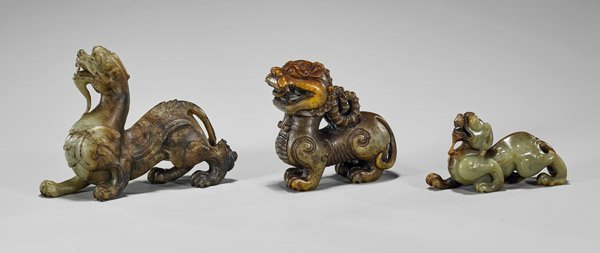 Three Archaistic Chinese Jade Animals