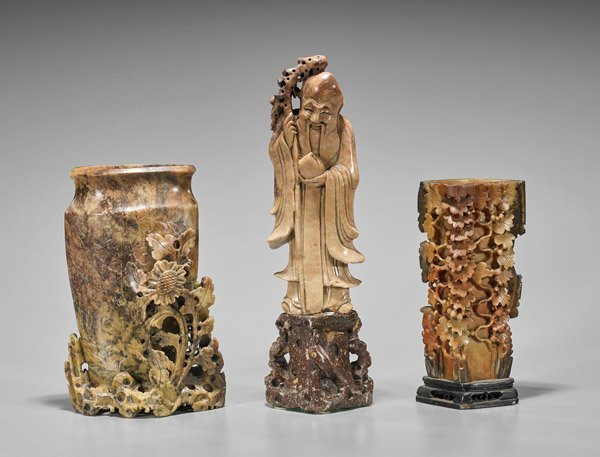 Three Chinese Carved Soapstones: Urns & Shoulao