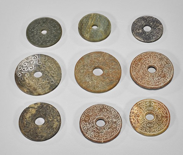 Nine Chinese Carved Jade/Hardstone Bi Discs