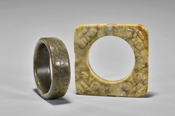 Five Archaistic Chinese Carvings: Bangles & Pendants