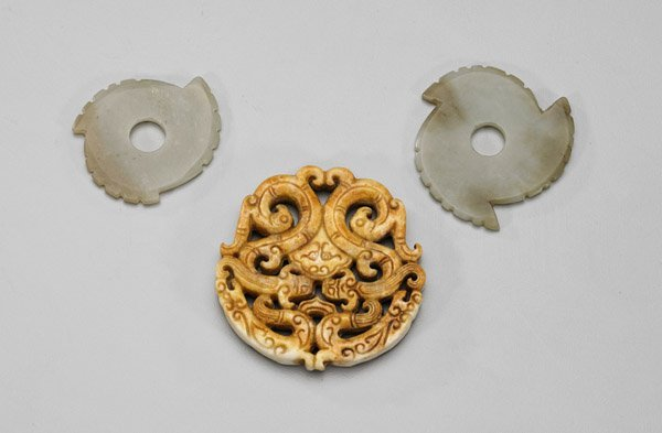 Five Archaistic Chinese Carvings: Bangles & Pendants - 2