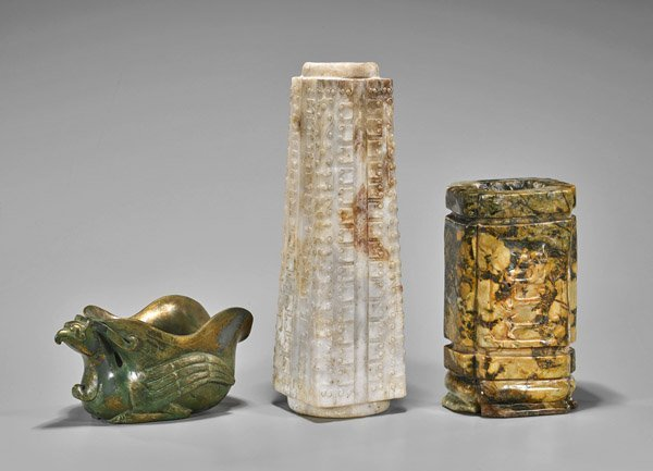 Three Archaistic Chinese Carved Hardstones