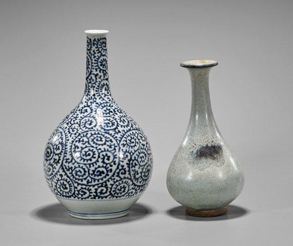 Two Antique Chinese Porcelain Bottle Vases