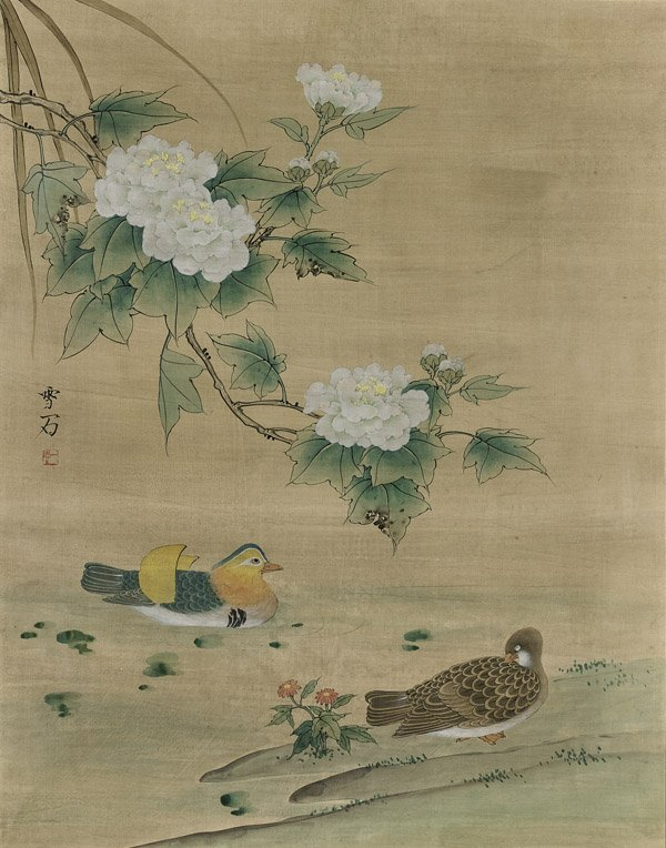 Large Chinese Silk Painting after Xueshi Bai: Ducks &