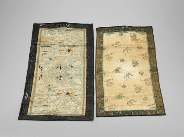 Eight Antique Chinese Silk Embroidered Panels