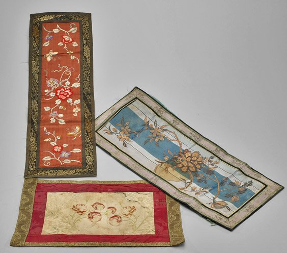 Eight Antique Chinese Silk Embroidered Panels - 2