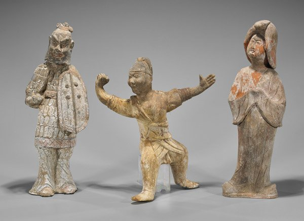 Three Chinese Painted Pottery Tomb Figures