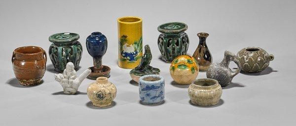 Fourteen Small Antique Glazed Ceramics