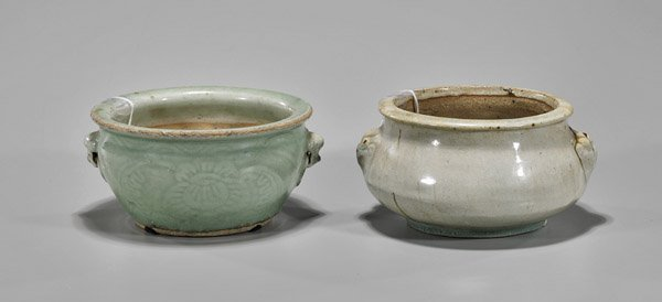 Two Antique Chinese Celadon Glazed Brushwashers/Basins